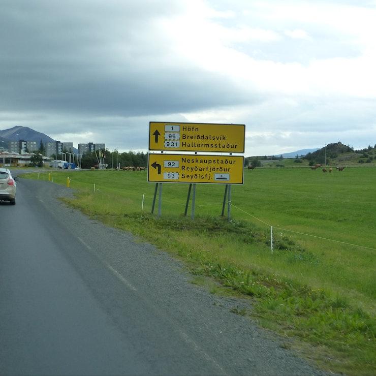 Wegwijsbord naar Seyðisfjörður