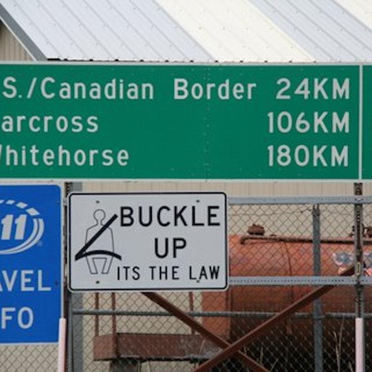 Wegwijsbord Canadese grens