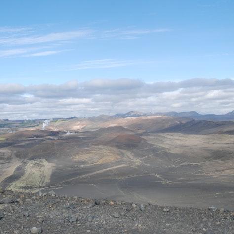 Uitzicht vanaf de Hverfjall, vulkaan