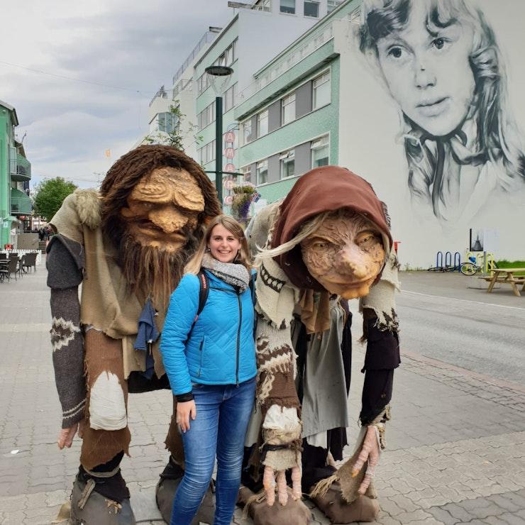 Trollen en muurtekening in Akureyri