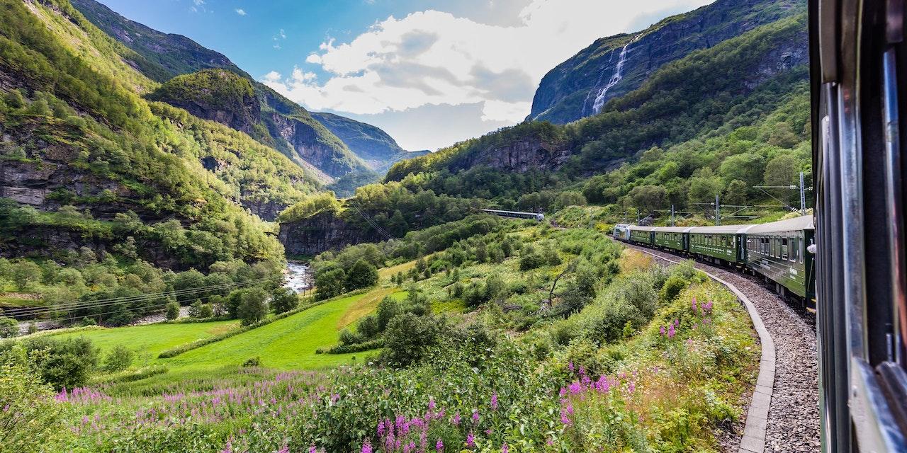Trein tussen Oslo en Bergen